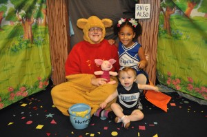 Pooh Bear & Two Cheerleaders