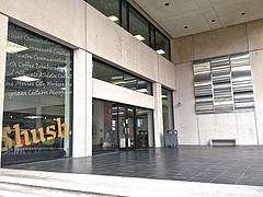 The entrance to the downtown branch of the Chattanooga Public Library and Shush Café.